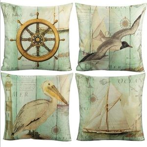 Nautical  Pillow Covers Ocean Vintage Seagull